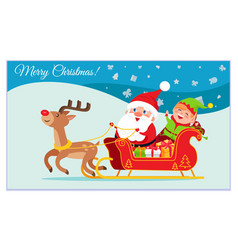 merry christmas greeting card with characters vector image