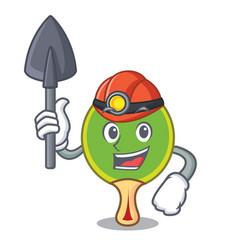 Miner ping pong racket mascot cartoon vector
