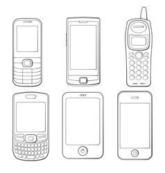 Mobile phones silhouettes set vector image