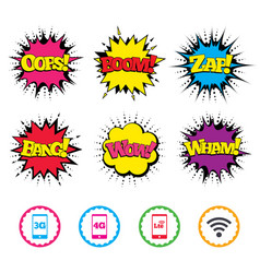 Mobile telecommunications icons 3g 4g and lte vector