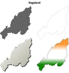 Nagaland blank detailed outline map set vector