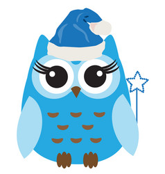 owl in santa hat vector image