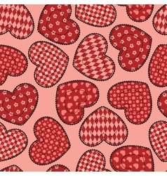 Patchwork hearts seamless pattern vector image