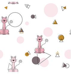 Pink cute cat geometric pattern seamless pattern vector