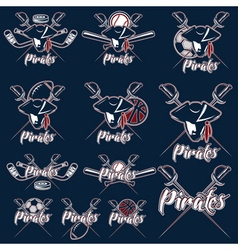 Pirates sport teams labels set vector