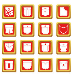 Pocket types icons set red vector