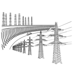 Power Transmission Line Dnieper hydro power plant vector