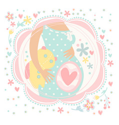 Pregnant woman with baby inside happy child vector