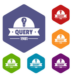Query icons hexahedron vector