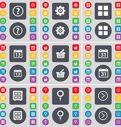 Question mark Gear Apps Calendar Basket Calendar vector