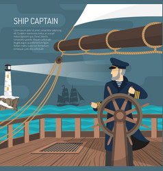 sailboat captain nautical flat poster vector image