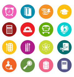 School education icons set colorful circles vector