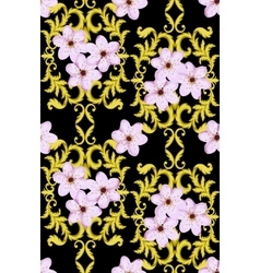 Seamless Gold Pattern with Cherry Blossom vector