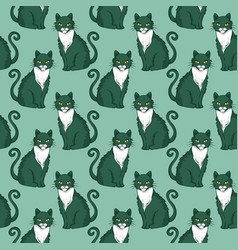 seamless pattern design with cute cats vector image