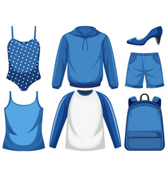 set blue outfit vector image