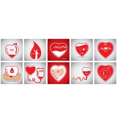 Set of blood donation vector image