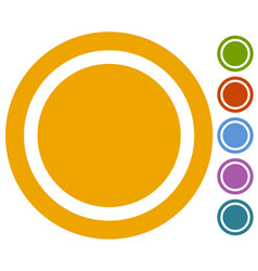 set of flat button badge icon in 6 colors vector image