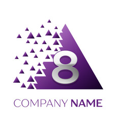 Silver number eight logo in purple pixel triangle vector