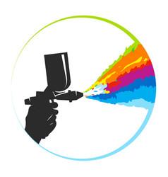 spray gun and multicolored paint splatter symbol vector image