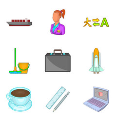 Technological process icons set cartoon style vector