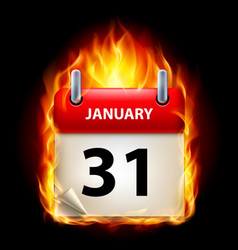 Thirty-first january in calendar burning icon on vector