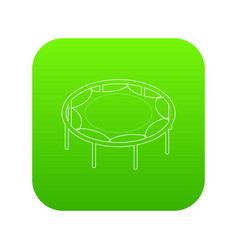 trampoline jumping icon green vector image