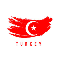 Turkey flag brush logo template design vector