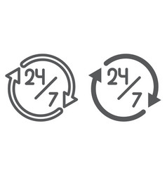 twenty four hour line and glyph icon open and vector image