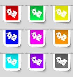 Two Aces icon sign Set of multicolored modern vector