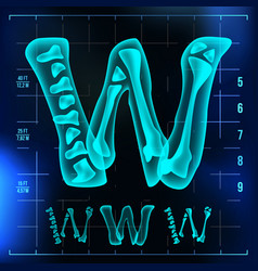W letter capital digit roentgen x-ray vector
