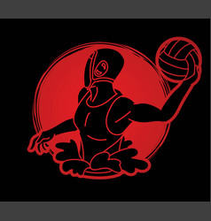 water polo player cartoon graphic vector image