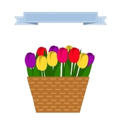 Wattled basket with flowers vector