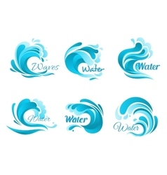 Waves and water splashes icons vector image
