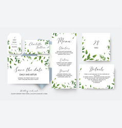 Wedding cards collection with greenery leaves vector