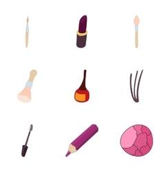 Women cosmetics icons set cartoon style vector