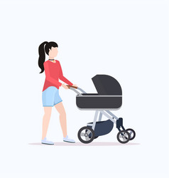 Young mother walking with her baby in stroller vector