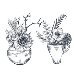 Bouquets with hand drawn flowers and plants in vector
