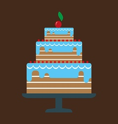 Card with a big chocolate cream layered cake vector image vector image