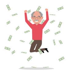 cartoon grandfather jump falling money vector image