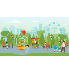 City Park With People Flat Design vector image