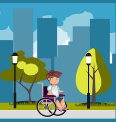 man in wheelchair in park vector image