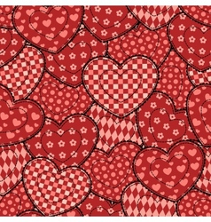 Patchwork hearts seamless beautiful pattern vector image