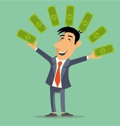 person juggles money banknotes vector image vector image
