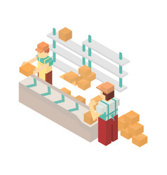 warehouse conveyor with workers icon vector image vector image
