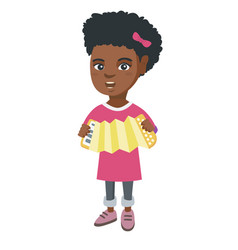 african-american girl playing the accordion vector image vector image