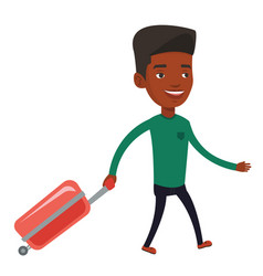 African man walking with suitcase vector