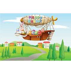 An airship with an easter greeting passing at the vector image vector image