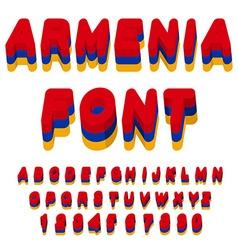 Armenia font Armenian flag on letters National vector image vector image