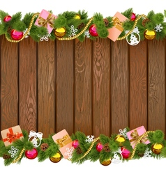Christmas Border with Gifts on Wooden Board vector image vector image