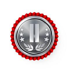 Silver 2st place rosette badge medal vector